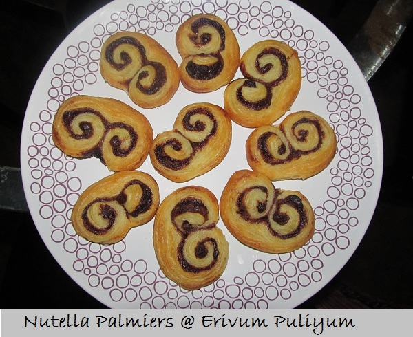 Nutella Palmiers (2 ingredient;Sweet cookies from Puff Pastry Sheet)