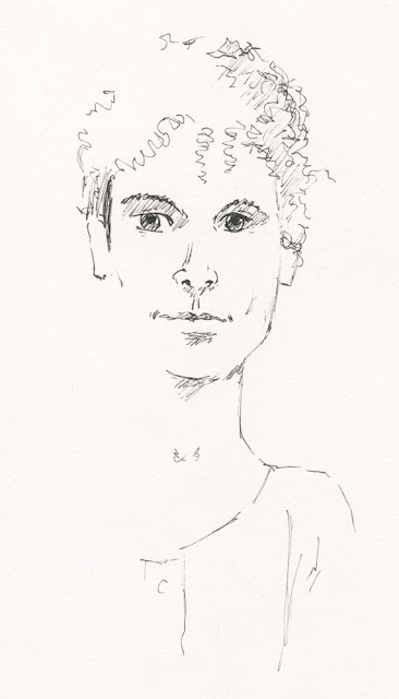 ink drawing of a young man