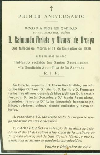 PRIMER ANIVERSARIO MUERTE 1936