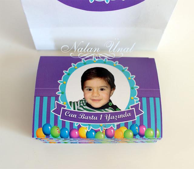 doğum günü partisi için mavi mor temalı hediyelik