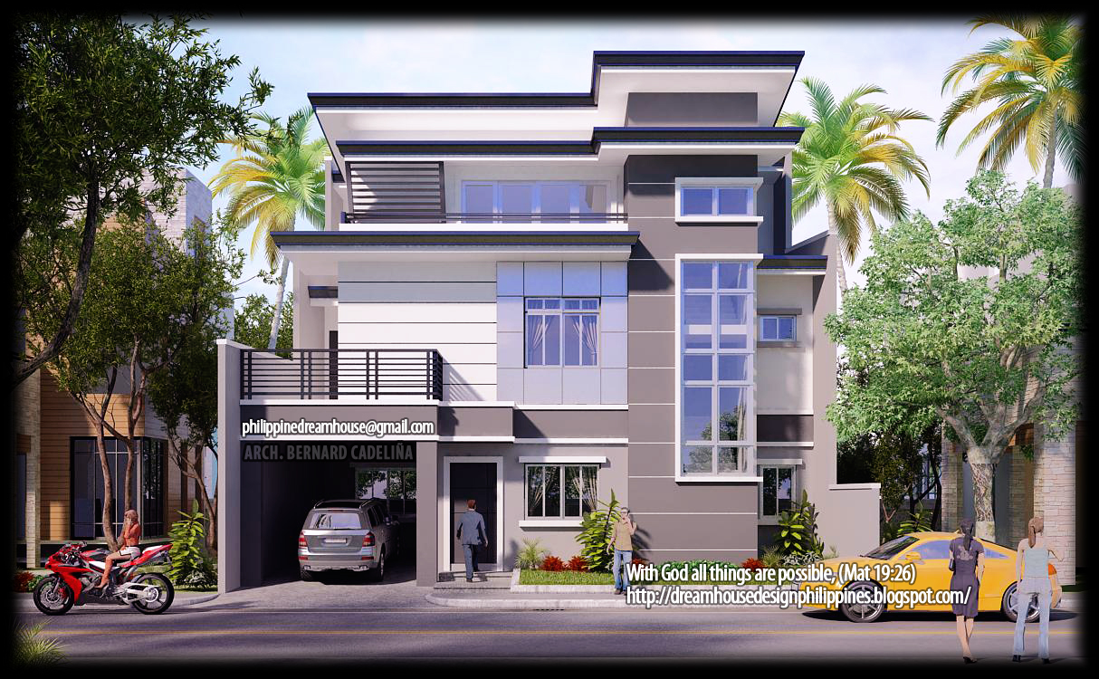ThreeStorey Modern Contemporary House Front View