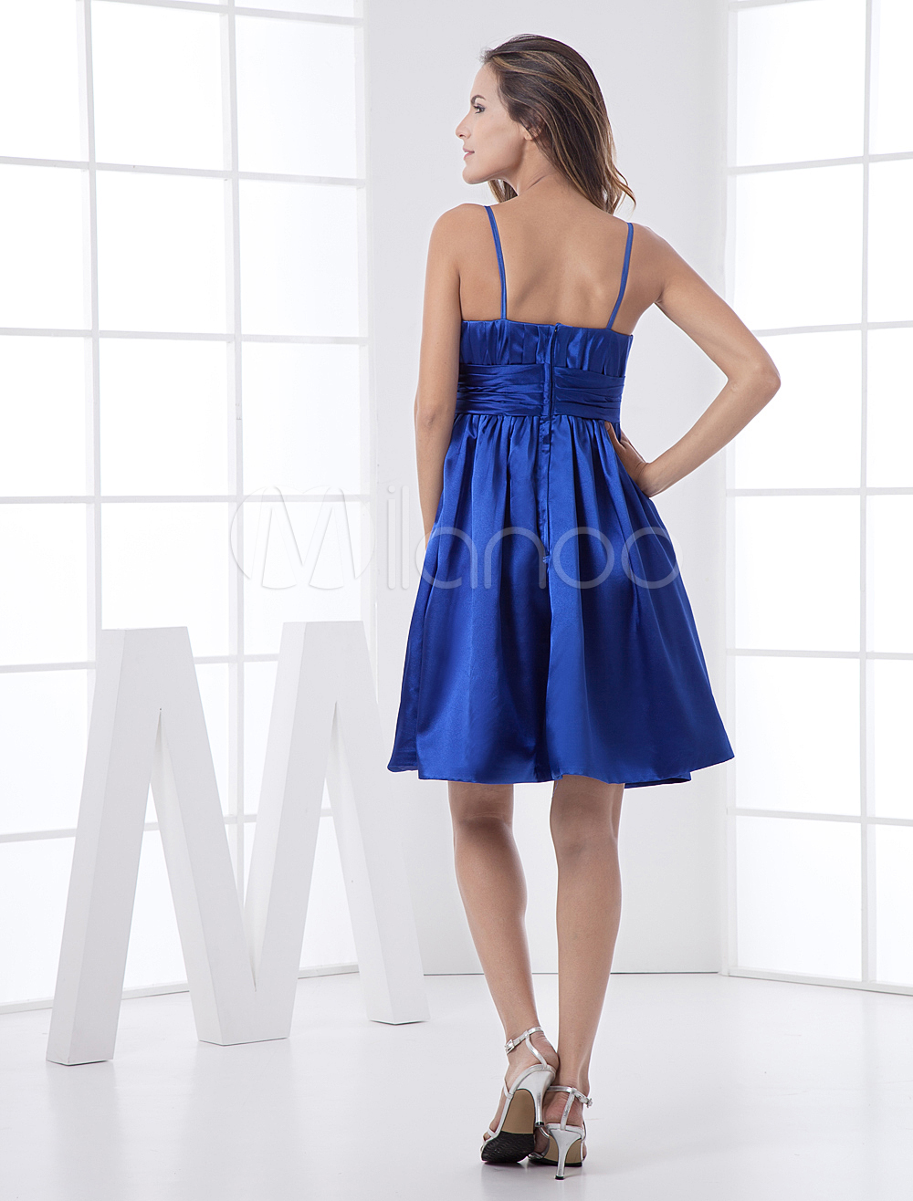 China Wholesale Dresses - Modern Sapphire Thin Shoulder Straps A-line Elastic Satin Womens Homecoming Dress