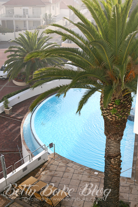 view from the president hotel, bantry bay, south africa, betty bake, blogger, hotel view, cape town, the president, protea hotel, palm tree, pool