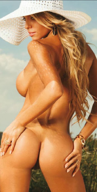 Leonela Ahumada is naked blonde ass on fire in Playboy Argentina
