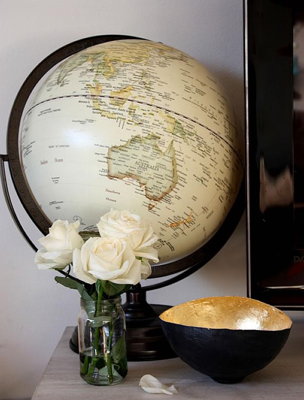Diy gold leaf paper mache bowl glamour drops for Diy paper bowl