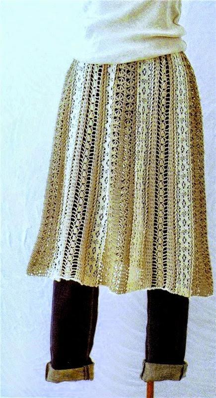 Falda de dama tejida con ganchillo