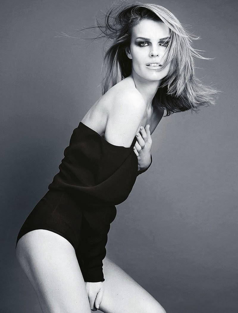 Magazine Cover : Eva Herzigova Magazine Photoshoot Pics on Madame Figaro Magazine January 2014 Issue