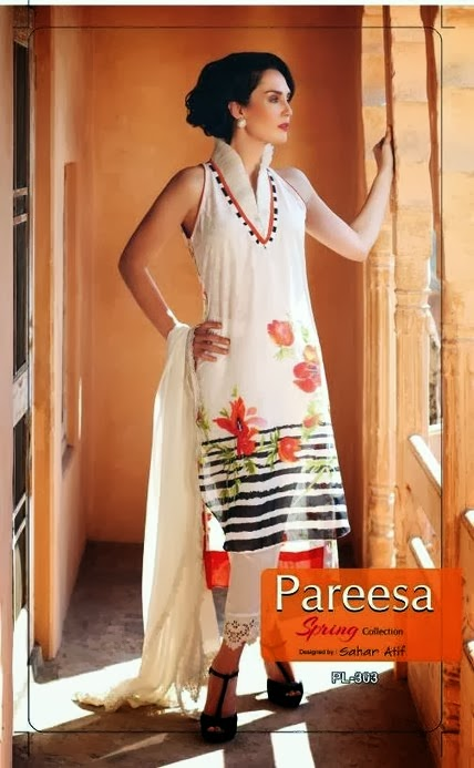 Latest Pareesa Sleeveless Lawn 2014