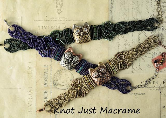 Micro macrame owl bracelets by Sherri Stokey of Knot Just Macrame