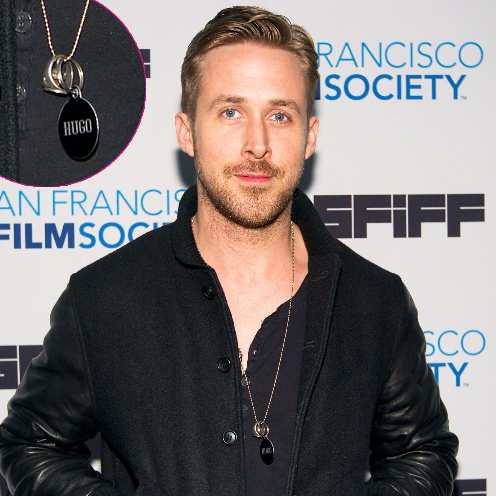 Ryan Gosling sporting a Necklace with the Name Hugo