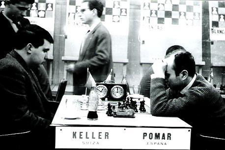 Partida de ajedrez Keller-Pomar en la vuelta del match España-Suiza disputado en Barcelona