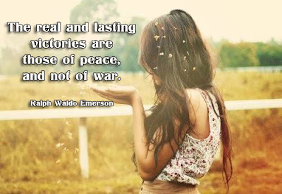 facebook Poste image quotes (The real and lasting victories are those of peace, and not of war.)
