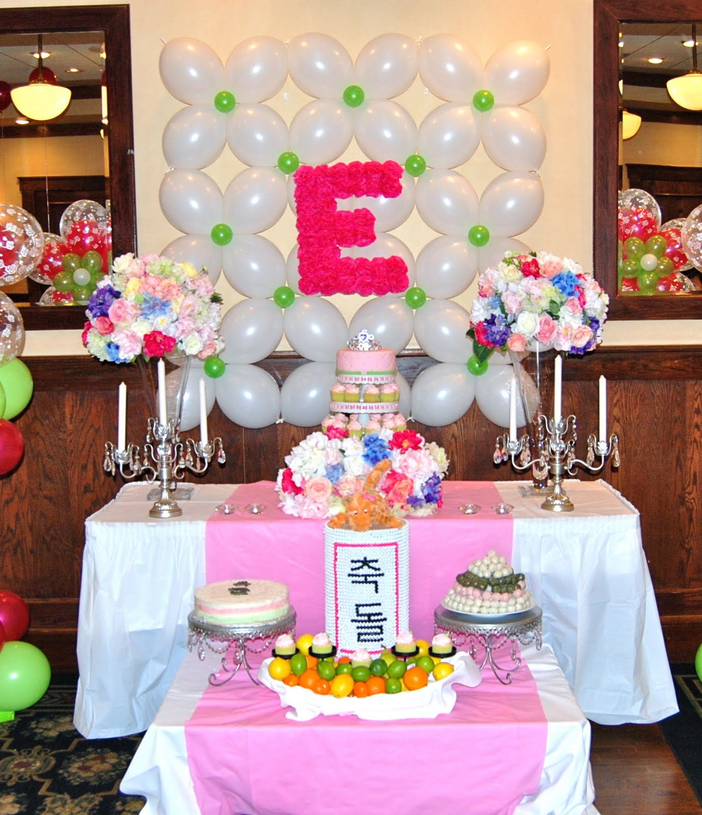 Elie 39 s spring themed korean 1st birthday party balloon for Balloon decoration for 1st birthday party