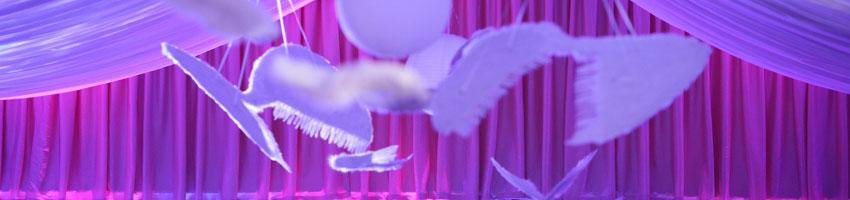 fioletowo różowo niebieskie oswietlenie sali weselnej