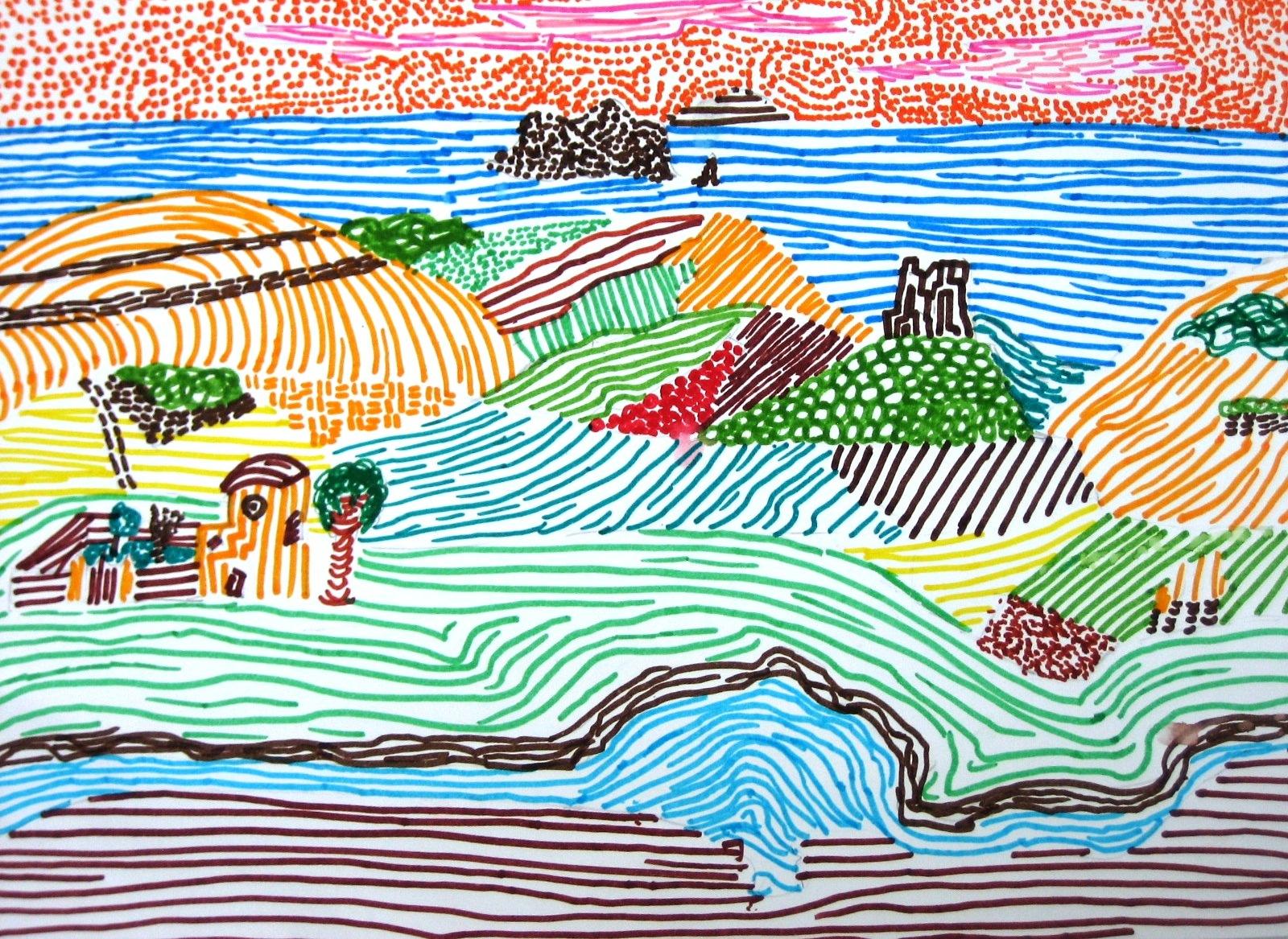 Immagin rti punto segno linea for Disegni colorati paesaggi