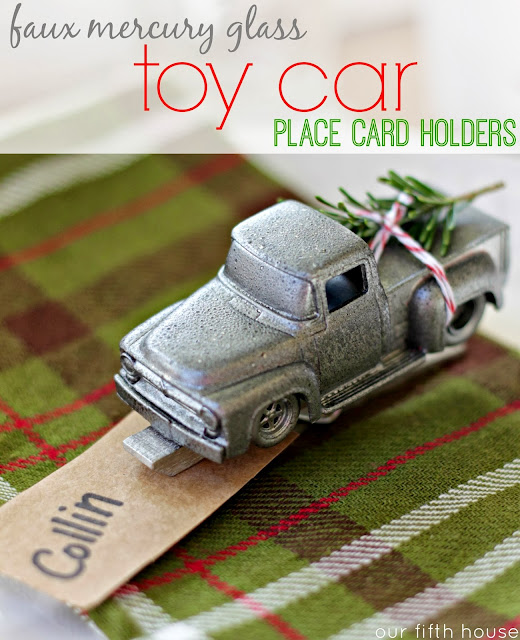 faux mercury glass toy car place card holders