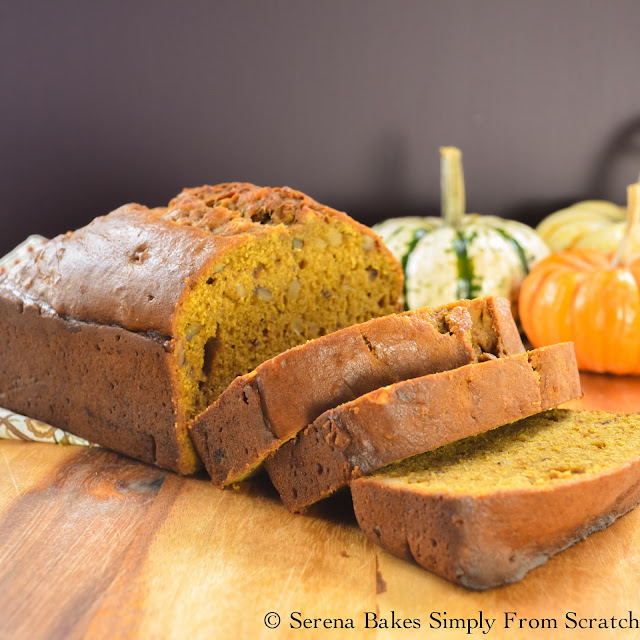 Moist Pumpkin Bread is easy to make with simple to follow step by step instructions! Perfect for Thanksgiving or Christmas morning! serenabakessimplyfromscratch.com