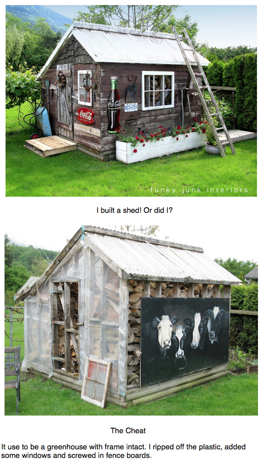 from greenhouse to rustic garden shed, via Funky Junk Interiors