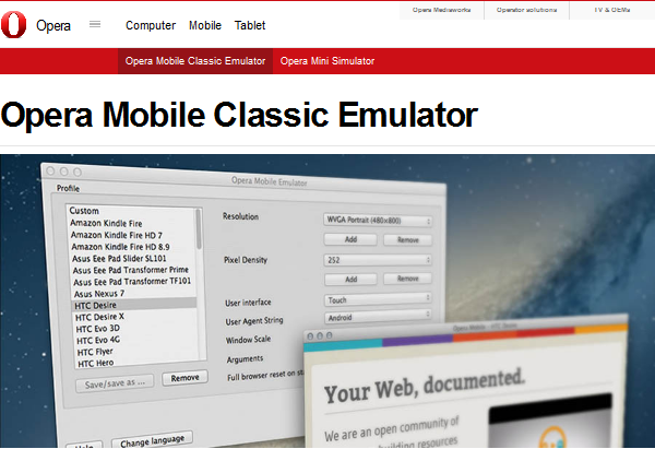 15 Best Responsive Web Design Testing Tools - Opera Mobile Emulator