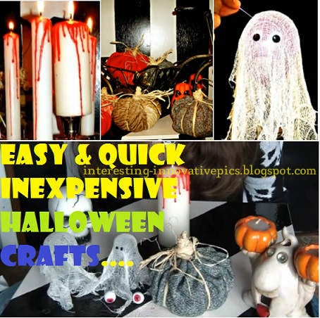 Three creative craft ideas for Halloween, Candle decor, pumpkin decor, DIY simple ghost with white cotton cloth