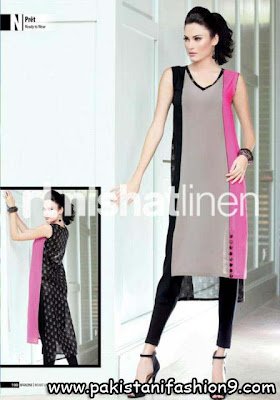 Linen Dress on Dresses Collection 2013  Nishat Linen Spring Collection For Girls 2013