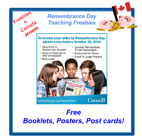 Canadian Freebies- Free Teaching  Resources - Remembrance Day Order Before October 25