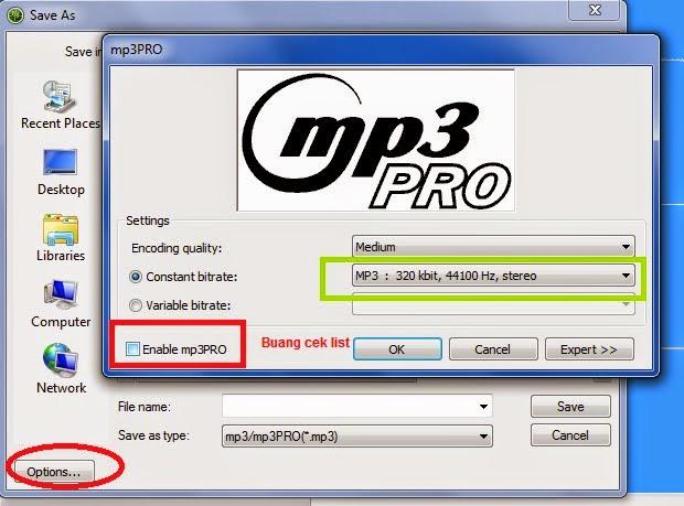 Pengaturan mp3 kualitas bagus pada nero