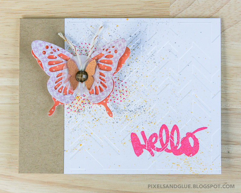 Fall Butterfly | Hello Card by @pixnglue #happyscrappyfriends
