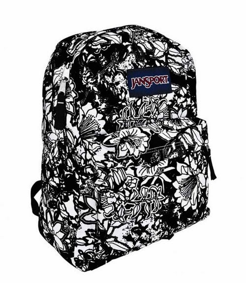 JanSport High Stakes Ransel - Crayon Flower Hitam Putih