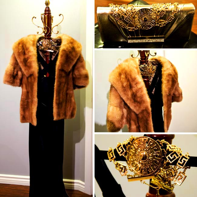 Fur Shawl, velvet gown, Versace for Hm chocket, Gold clutch