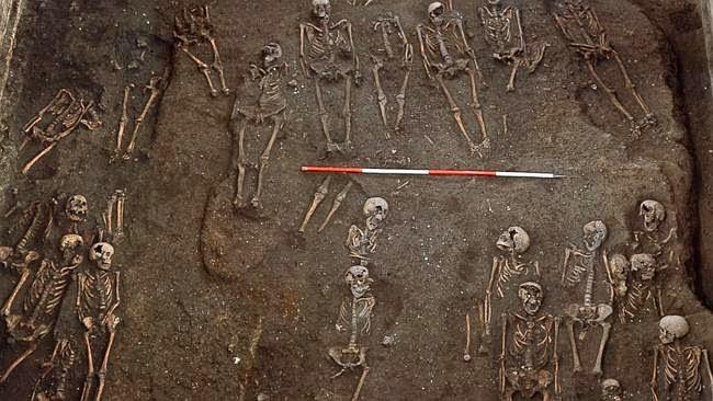 Kerangka manusia yang ditemukan di lokasi pemakaman kuno