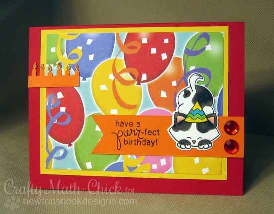 Cat Birthday Card by Crafty Math-Chick  | Newton's Antics Stamp set by Newton's Nook Designs #newtonsnook #cat #stamp