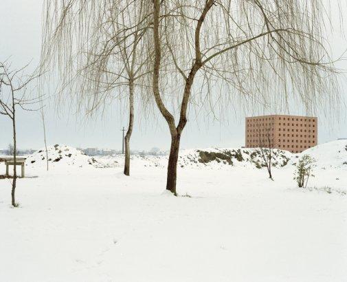 Fotografía. Luigi Ghirri. Cementerio de San Cataldo, Módena; el osario en invierno, 1986.