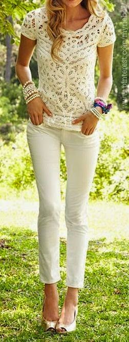 All White Summer Fashion Styles – Lace Top & Skinnies.