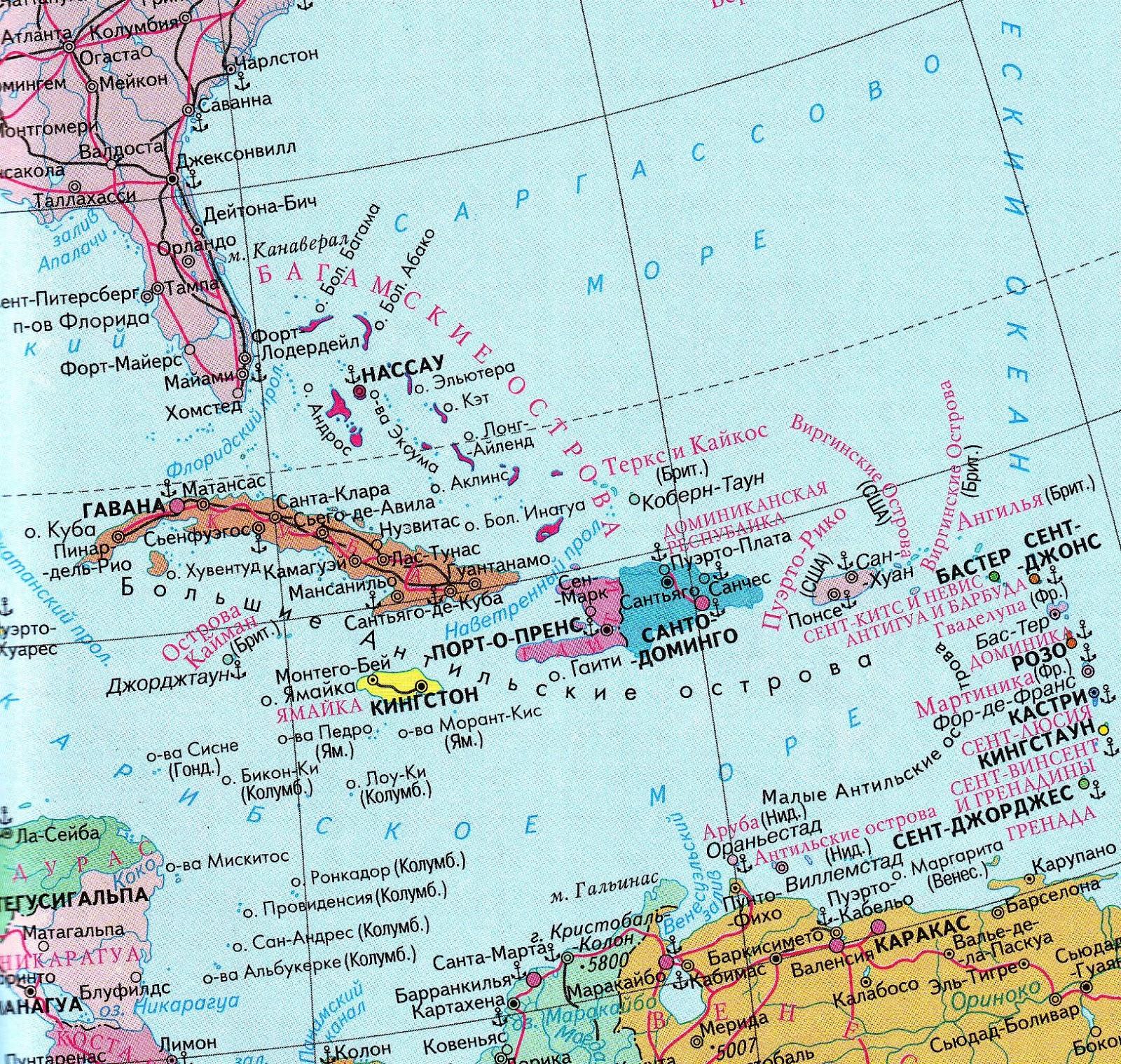 карибское море карта картинки