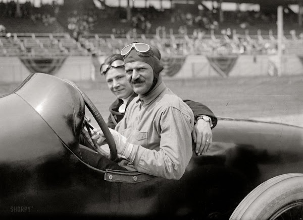 June 1, 1918. French driver Louis Chevrolet and mechanic in their Frontenac