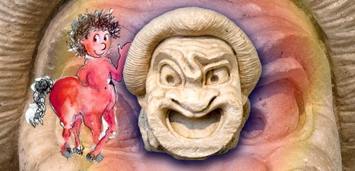 Μαρμάρινο προσωπείο (μάσκα) κωμικού. Αθήνα, 2ος αι. π.Χ. (ΕΑΜ αρ. 3373)