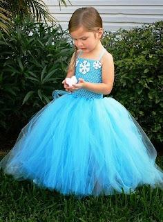 Tutu dress elsa frozen warna biru cantik