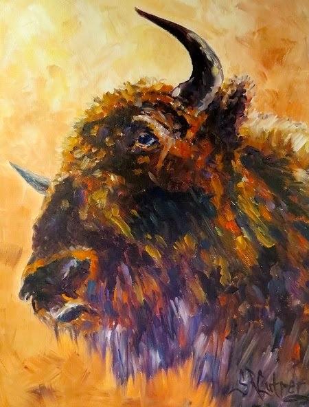 """Made in America"", buffalo in bright colors"