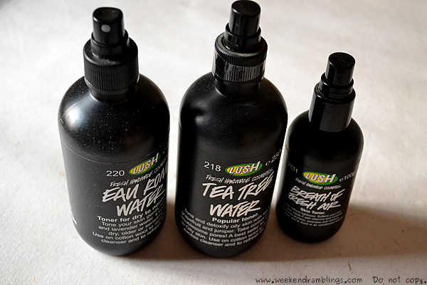Lush Toner Waters Skincare Breath of Fresh Air Eau Roma Tea Tree Reviews Ingredients