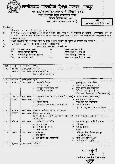 CG Board 12th Date Sheet 2014 CGBSE Class 12 Exam Date 2014