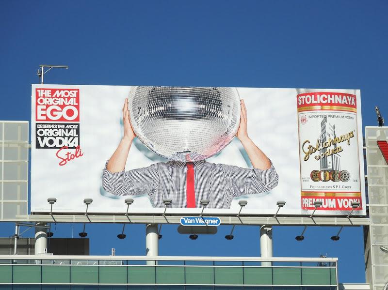 Stoli Most Original Ego glitterball billboard Hollywood