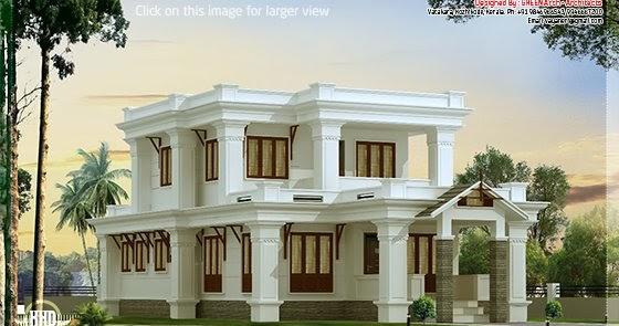 Single Floor Simple Elevation : Sq feet flat roof villa design house plans