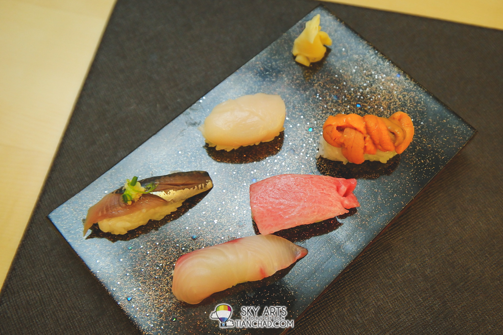 Chef's Recommended Seasonal Sushi: Sardine, Scallop, Kampachi, Otoro and Sea Urchin