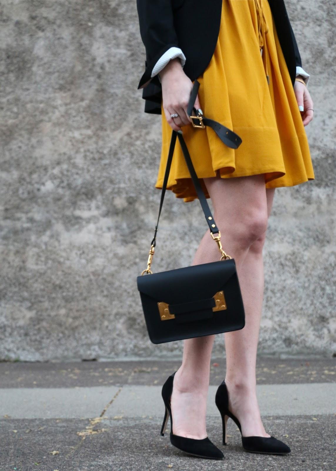sophie hulme black envelope bag, sam edelman d'orsay pumps