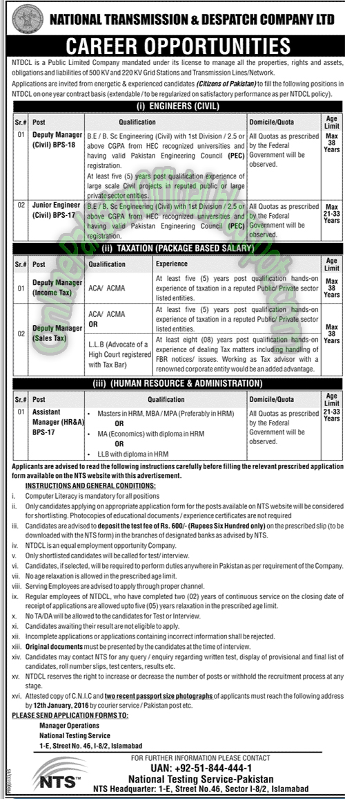 National Transmission&Despatch Company -Islamabad nts jobs