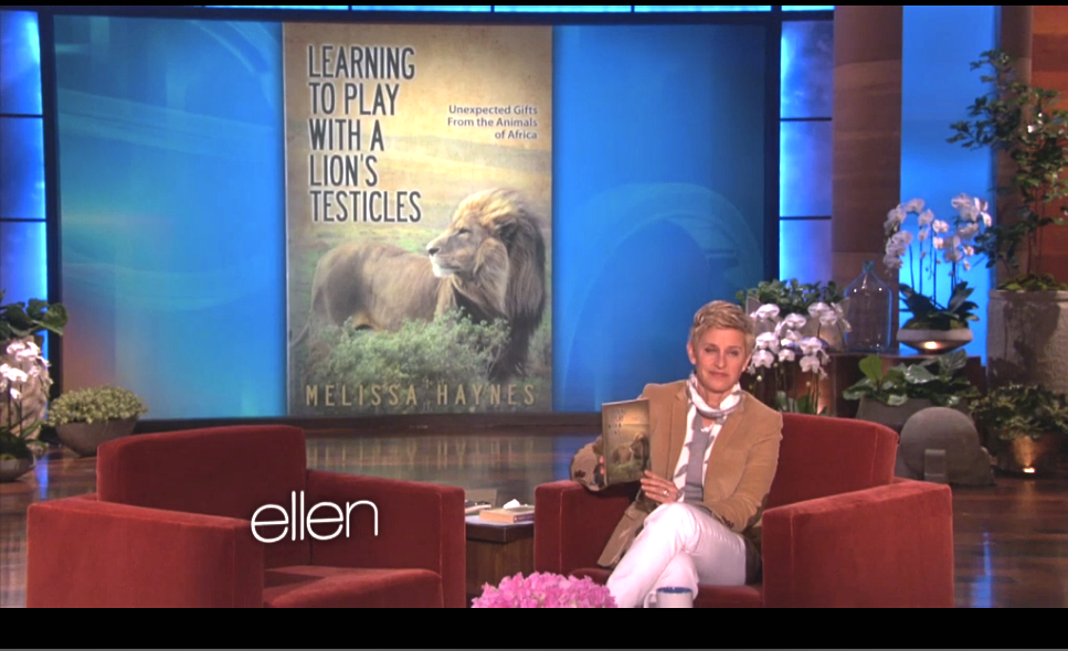 ELLEN playing with a lion's testicles