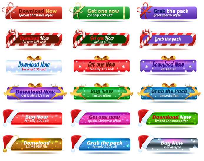 Free Christmas Buttons PSD