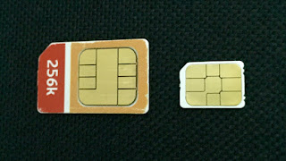 Photograph of nano-SIM vs regular-SIM card