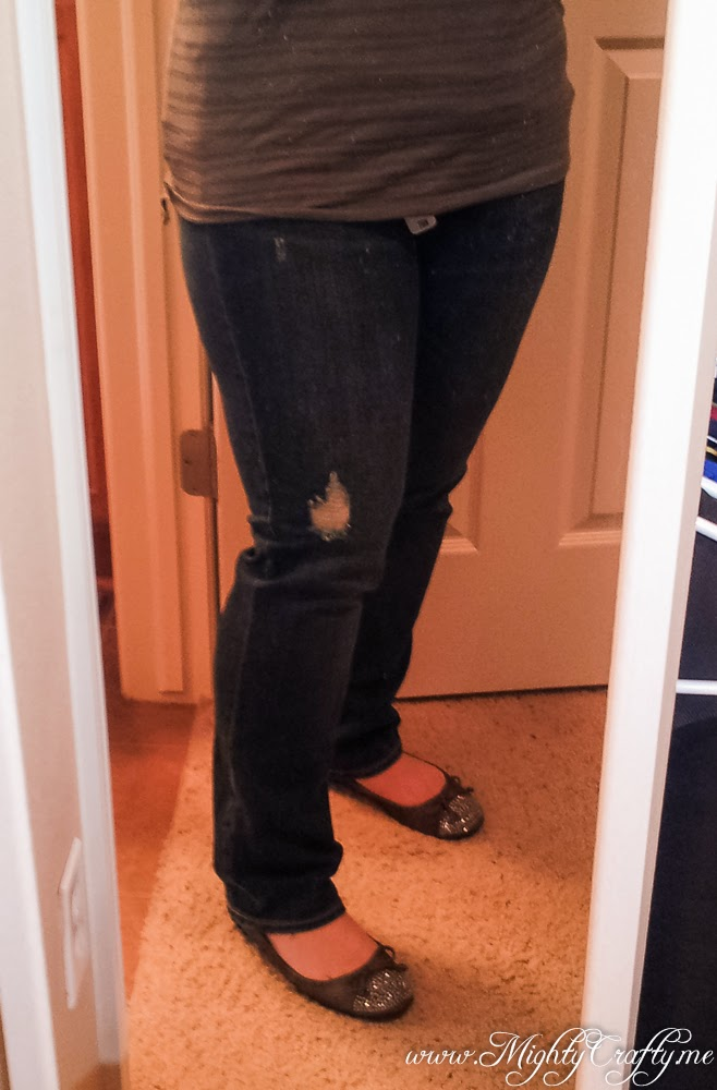 Kate Distressed Boyfriend Jean -- Stitch Fix review -- April 2014 -- www.MightyCrafty.me